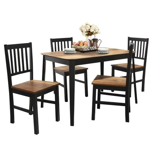 Shop Costway 5 Pcs Mid Century Modern Dining Table Set 4 Chairs W Wood Legs On Sale Overstock 31045211