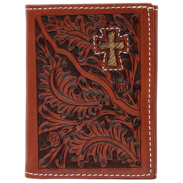 3D Wallet Men Leather Trifold Tooled Acorn Cross Tan - One size