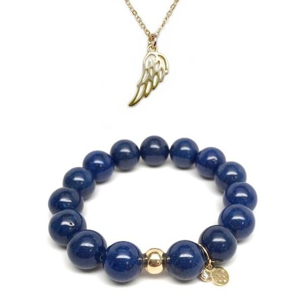 Blue Jade Bracelet & Angel Wing Gold Charm Necklace Set