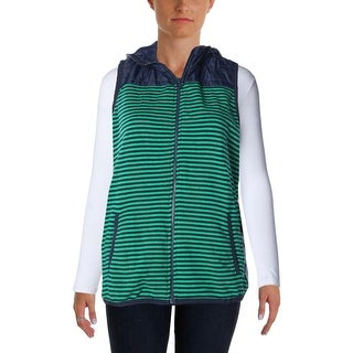 Tommy Hilfiger Womens Packable Vest Hooded Striped