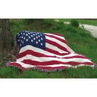 """Stars and Stripes Patriotic Woven Indoor-Outdoor Throw Blanket 50"""" x 60"""" - Red"""