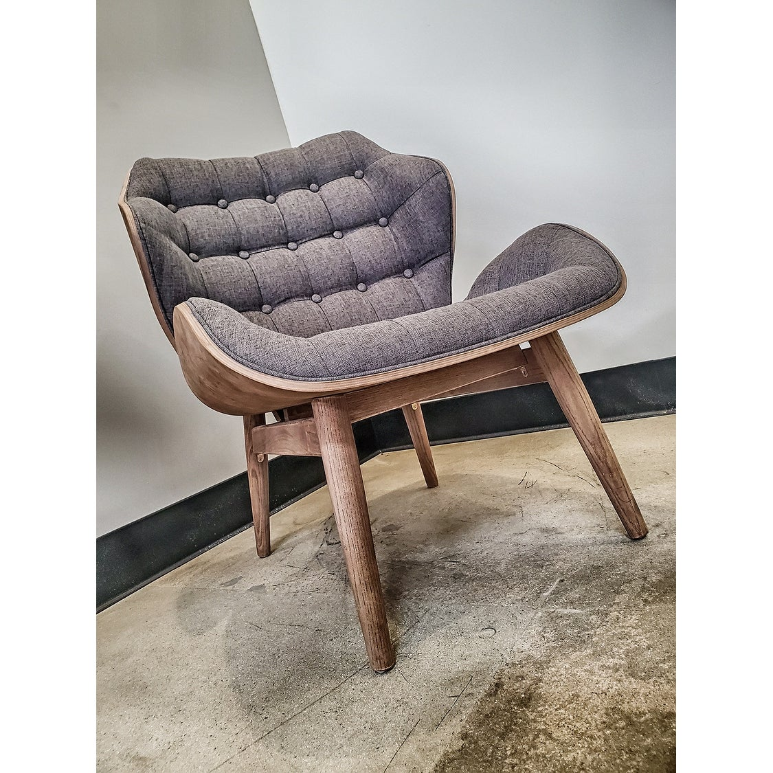 Large Fabric Tufted Dark Wood Accent Lounge Modern Chair Upholstered High  Back Living Room Bedroom Office Waiting Comfortable