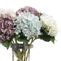 "G Home Collection Luxury Silk Small Petal Hydrangea Stem in Light Blue Light Purple and Cream White 20"" Tall"