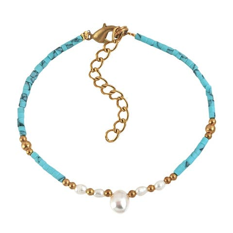 Handmade Boho Cultured White Pearl and Blue Turquoise Brass Beaded Bracelet (Thailand)