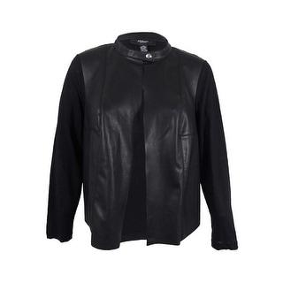 Alfani Women's Plus Size Faux-Leather Mixed-Media Jacket (2X, Deep Black)