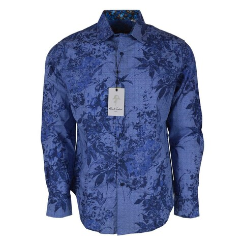 Robert Graham ROWE Skull Cuffs Leaf Print Button Down Sport Shirt