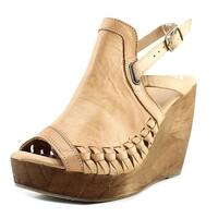 Very Volatile Carry Women  Open Toe Leather Tan Wedge Heel