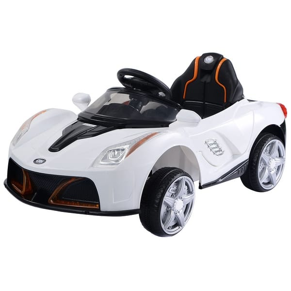12v Battery Powered Kids Ride On Car Rc Remote Control W Led Lights Music White Overstock 17259428