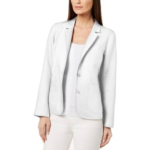 Eileen Fisher Womens Two-Button Blazer Linen Shaped