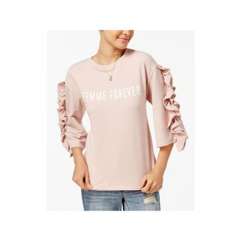 POLLY & ESTHER Womens Pink Graphic Long Sleeve Sweater Size M