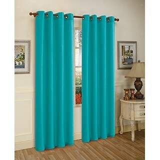 Sabah Faux Silk Panel With 8 Grommets, Teal Blue, 55x95