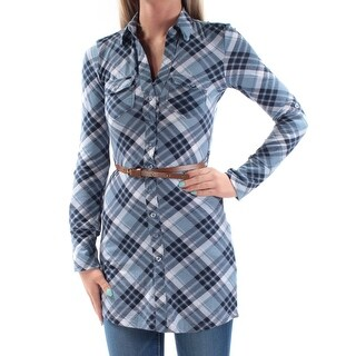 Womens Blue Light Blue Plaid Cuffed Collared Casual Button Up Top Size 2XS