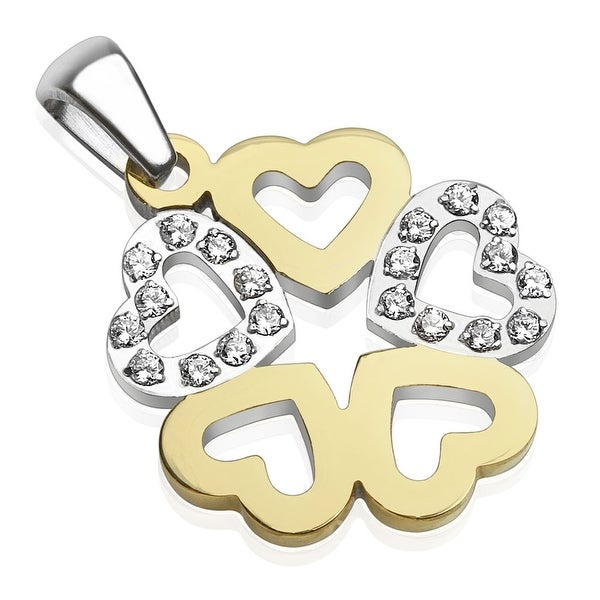 Five Hearts with Paved Gems Two Tone Stainless Steel Pendant (20 mm Width)