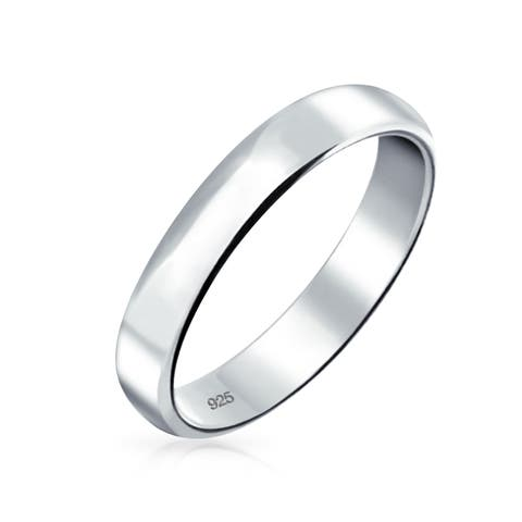 Minimalist Plain Simple 925 Sterling Silver Dome Couples Wedding Band Ring For Women For Men 4MM