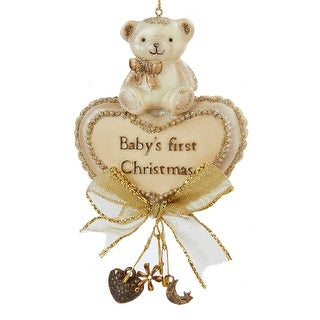 Kurt Adler Babys First  Bear on Heart  Holiday Ornament 5 Inches
