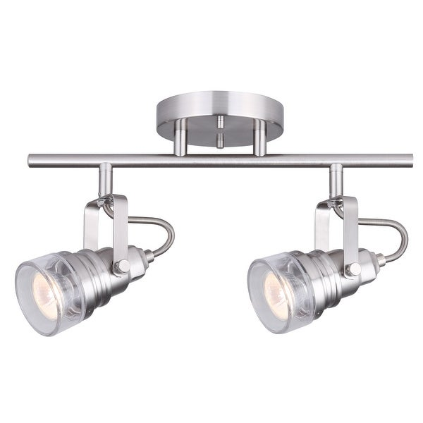 Canarn Brock 2 Light Track With Adjule Heads And Clear Gl Brushed Nickel Easy Connect
