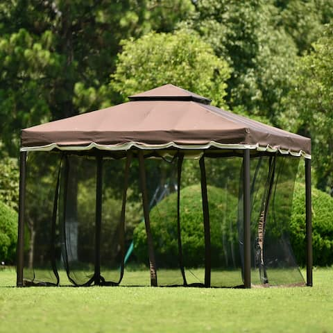 Nestfair 9.8 ft. x 8.8 ft. Steel Vented Dome Top Patio Gazebo with Netting
