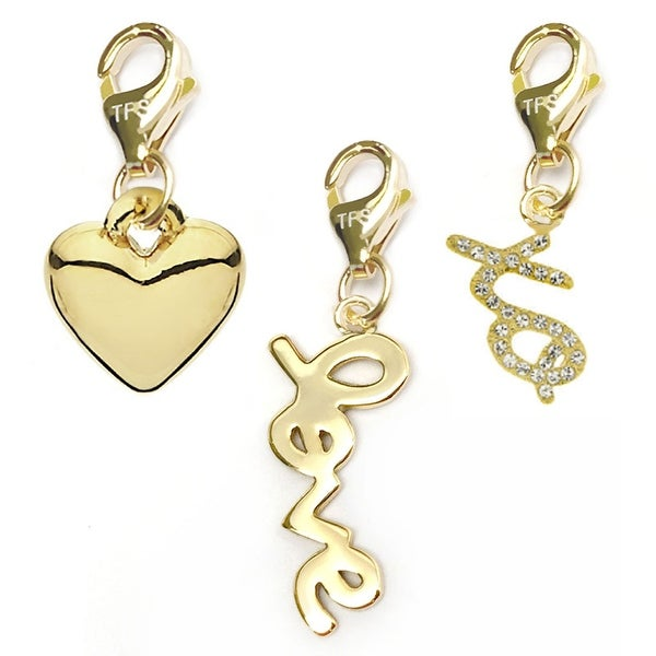 Julieta Jewelry Love, Heart, XO 14k Gold Over Sterling Silver Clip-On Charm Set