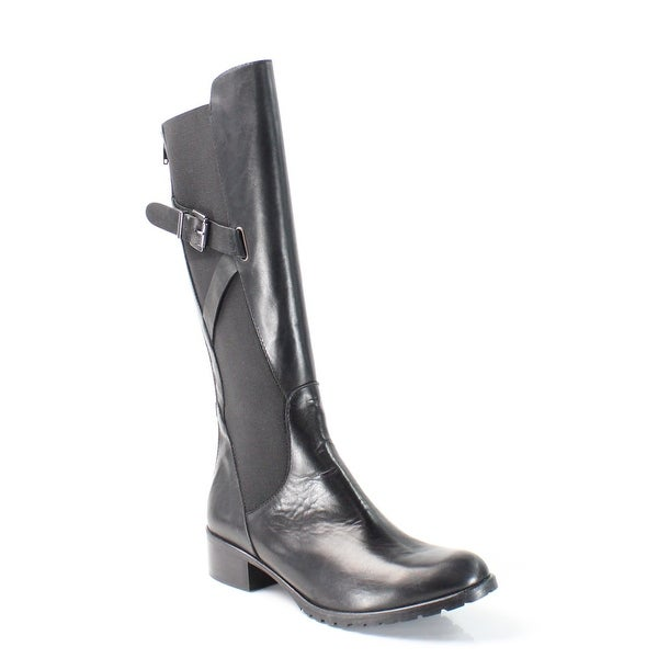 Charles David NEW Black Shoes Size 9M Zip Knee-High Leather Boots