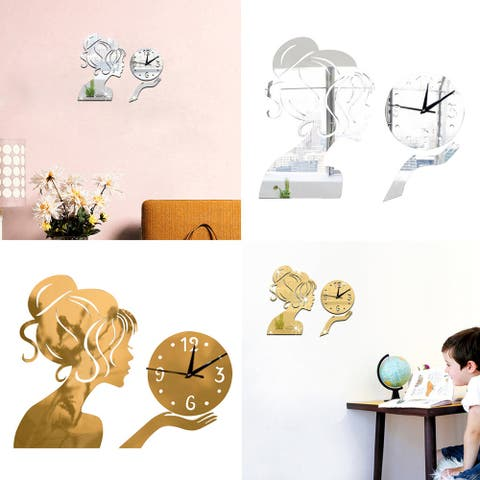 Mirror Effect Lady Wall Clock Art Diy 3D Sticker Home Living Room Decor Utility - Silver