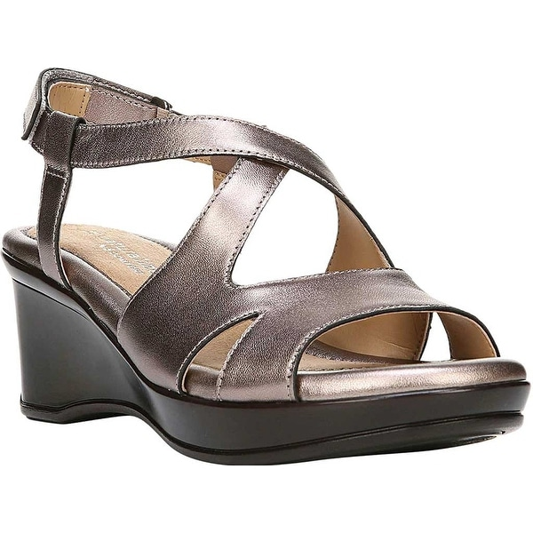 Naturalizer Womens Villette Leather Open Toe Casual Slingback Sandals