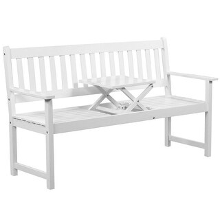 vidaXL Solid Acacia Wood Patio Garden Bench with Integrated Table Outdoor White