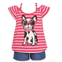 Little Girls Coral Stripe Dog Sunglasses Print Top 2 Pc Shorts Outfit
