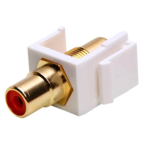 Keystone Jack - Modular RCA White with Red Center