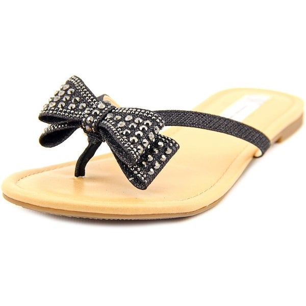 INC International Concepts Malissa Women Open Toe Canvas Black Thong Sandal