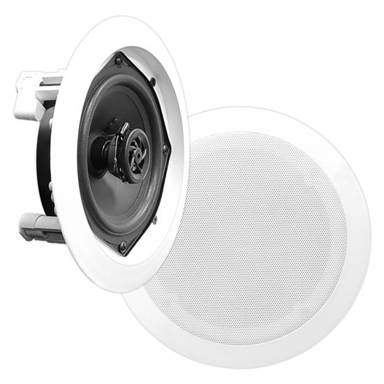 In-Wall / In-Ceiling Dual 5.25-inch Speaker System, 2-Way, Flush Mount, White