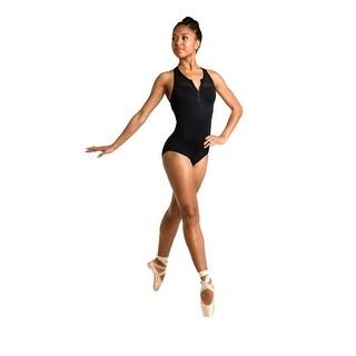 Danshuz Women's Black Contemporary Athletic Style Zip Mesh Yoke Leotard
