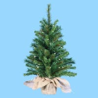 2.5' Pre-Lit Artificial Pine Christmas Tree in Burlap Bag - Clear Lights - green