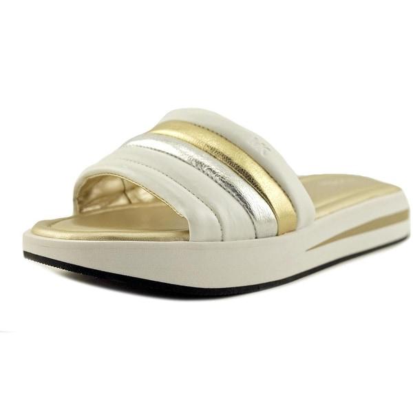 a067f69b4a30 Shop Michael Michael Kors Conrad Slide Women Pl Gold Wht Sandals ...