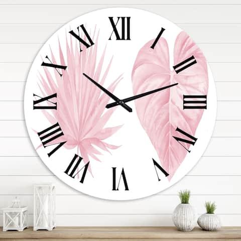 Designart 'Tropical Pink Watercolour Leaves II' Shabby Chic wall clock