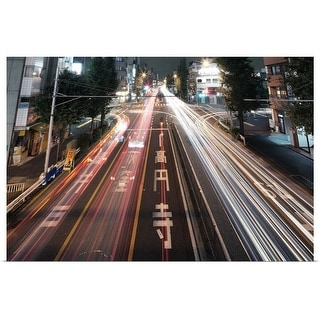 """Traffic trails at night, Tokyo."" Poster Print"