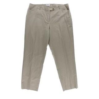 Calvin Klein NEW Beige Solid Women's 20W Plus Modern-Fit Dress Pants