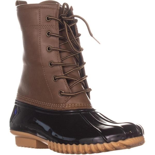 945834b05063c The Original Duck Boot by Sporto Ariel Lace Up Duck Rain Boots, Tan/Brown