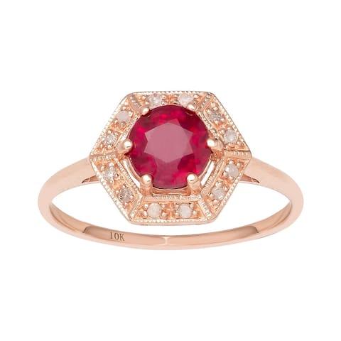 Viducci 10k Rose Gold Vintage Style Genuine Round Ruby and Diamond Halo Ring