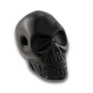 Carved Blue Goldstone Gemstone Skull Pendant 25mm 1 Inch