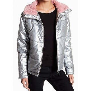 Abound Pink Faux-Fur Women's Large Quilted Puffer Jacket $52