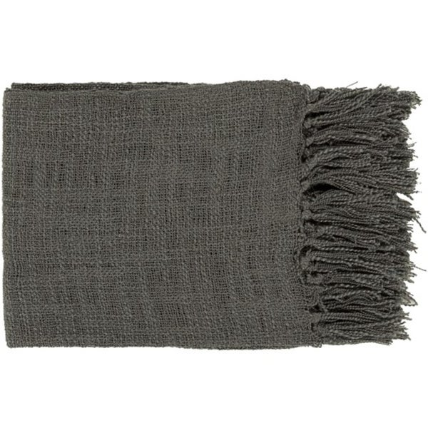 "59"" x 51"" Warm Weaves Charcoal Gray Fringed Throw Blanket"