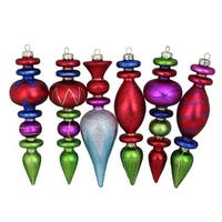 6-Piece Multi Colored Glitter Accented Finial Asymmetrical Glass Christmas Ornament Set
