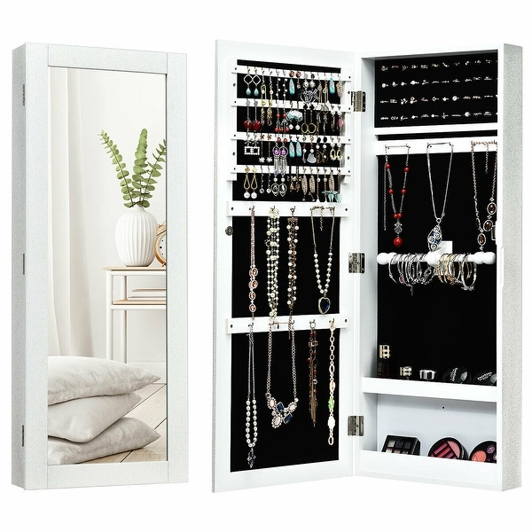 Gymax Jewelry Cabinet Wall Mounted Mirrored Armoire Storage Organizer