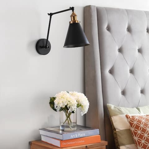 "Rover 7"" Adjustable Arm Metal LED Wall Sconce, Black by JONATHAN Y"