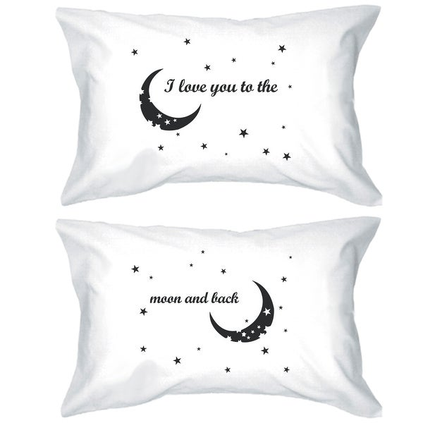 Moon And Back Matching Gift Couple Pillow Cases For Anniversary