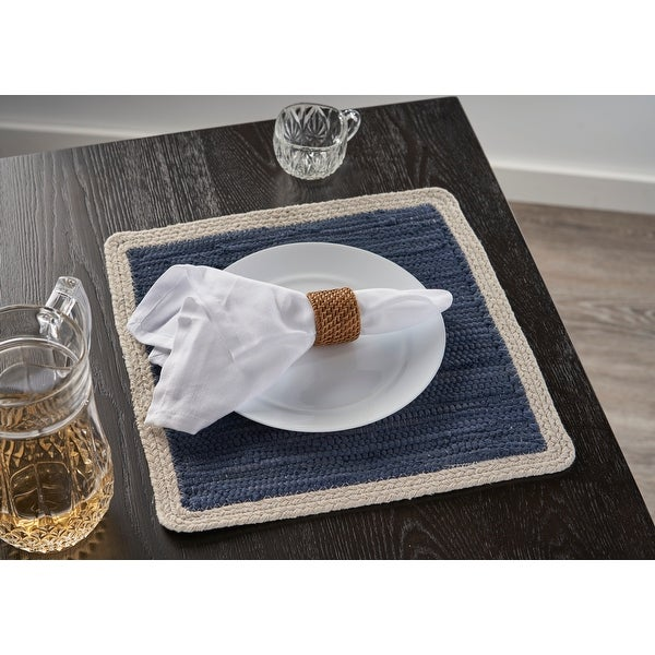 """Delicate Bordered Square Indigo Place Mat - 1'3"""" x 1'3"""". Opens flyout."""
