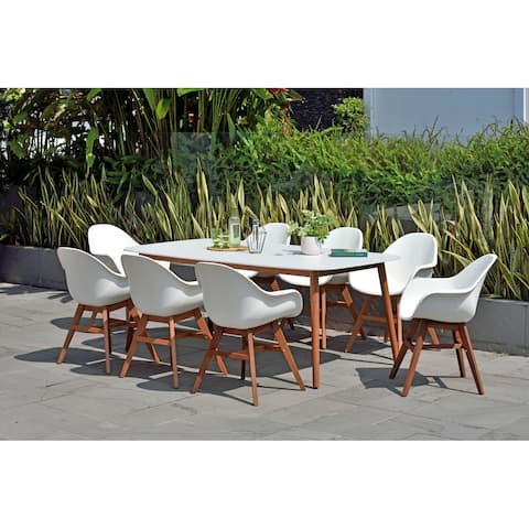 Amazonia Hawaii Wood and Resin 9pc Outdoor Patio Dining Set