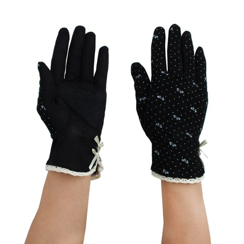 Women Summer Motorcycle Riding Dot Pattern Sun Resistant Gloves Protector Black