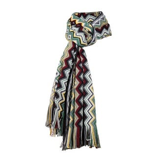 Link to Missoni Grey/Yellow Long Zigzag Fringe Scarf - 16-71 Similar Items in Scarves & Wraps