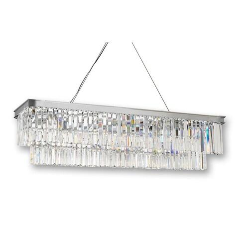 Retro Palladium Glass Fringe Rectangular Chandelier Lighting Chrome